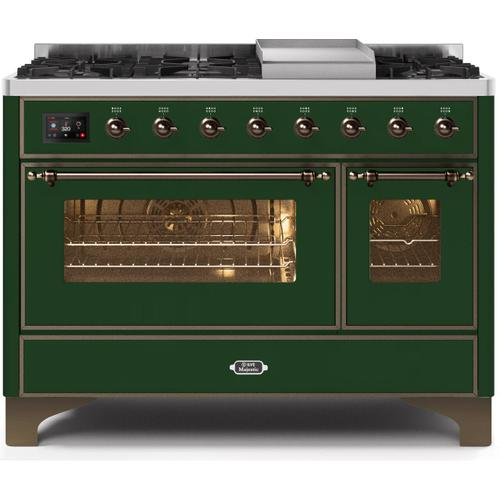Majestic II 48 Inch Dual Fuel Natural Gas Freestanding Range in Emerald Green with Bronze Trim