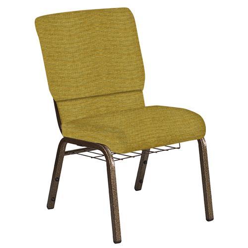 Flash Furniture - 18.5''W Church Chair in Highlands Ecru Fabric with Book Rack - Gold Vein Frame