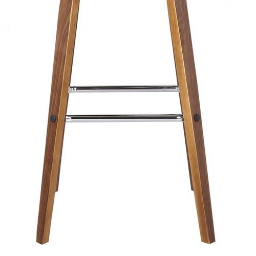 "Vienna 30"" Bar Height Barstool in Walnut Wood Finish with Cream Faux Leather"
