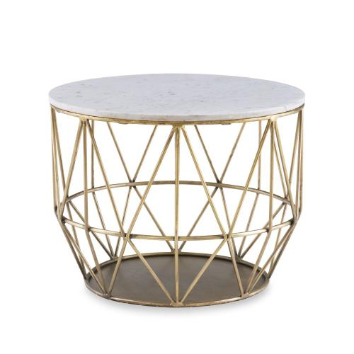 Round Premium Marble Top Side Table, Gold
