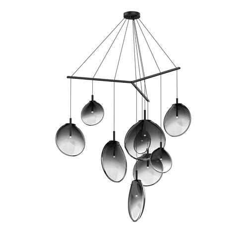 Sonneman - A Way of Light - Cantina LED Pendant [Size=9-Light Tri-Spreader, Color/Finish=Satin Black w/Smoke Fade Glass]