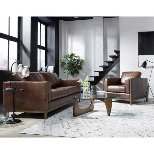 Pulaski Furniture - Drake Leather Sofa with Wooden Base in Brown