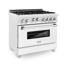 ZLINE 36 in. Professional 4.6 cu. ft. 4 Gas on Gas Range in DuraSnow® Stainless Steel with White Matte Door (RGS-WM-36)