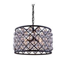 Madison 6 light Matte Black Pendant Clear Royal Cut Crystal