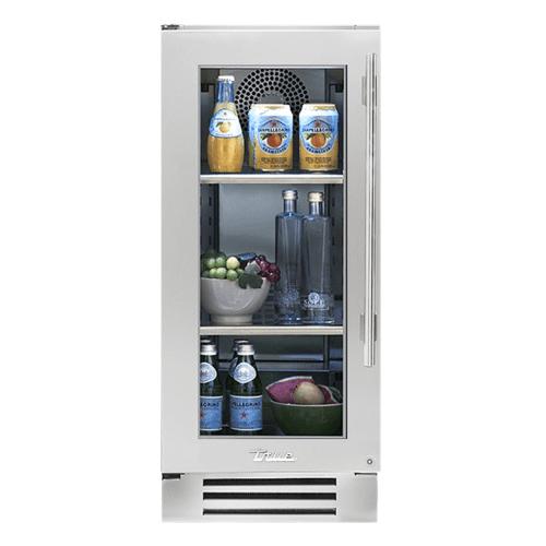 True Residential - 15 Inch Stainless Glass Door Left Hinge Undercounter Refrigerator
