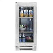 15 Inch Stainless Glass Door Left Hinge Undercounter Refrigerator