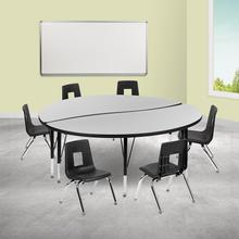 """60"""" Circle Wave Collaborative Laminate Activity Table Set with 12"""" Student Stack Chairs, Grey\/Black"""