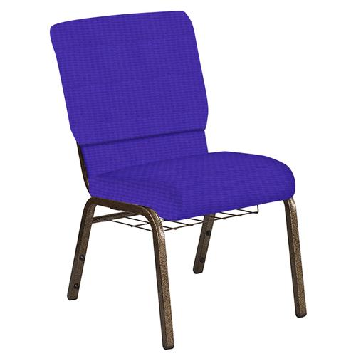 Flash Furniture - 18.5''W Church Chair in Interweave Lilac Fabric with Book Rack - Gold Vein Frame