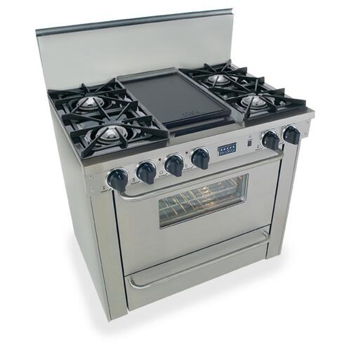 """Five Star - 36"""" All Gas Range, Open Burners, Stainless Steel"""