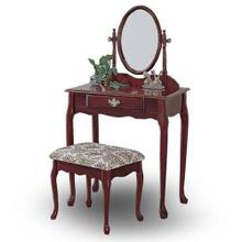 Traditional Cherry Finish Wood Vanity Table Mirror and Stool/Bench Set