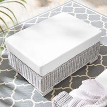 Conway Sunbrella® Outdoor Patio Wicker Rattan Ottoman in Light Gray White