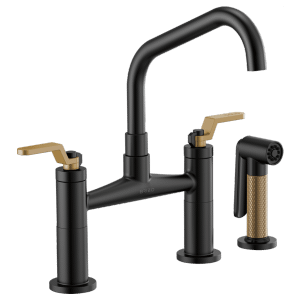 Bridge Faucet With Angled Spout and Industrial Handle Product Image