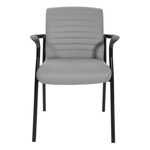 Guest Chair In Grey Faux Leather With Black Frame