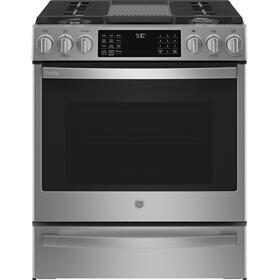 "GE Profile™ 30"" Smart Slide-In Front-Control Gas Fingerprint Resistant Range with No Preheat Air Fry"