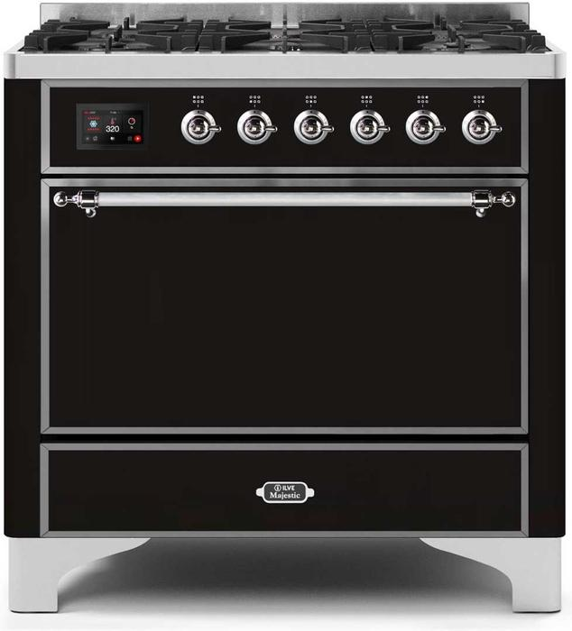 36 Inch Glossy Black Dual Fuel Natural Gas Freestanding Range Photo #1