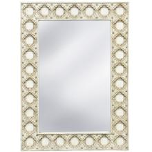 ANTIQUE EGGSHELL MIRROR  35in w. X 48in ht. X 2in d.  Tiled Wood Frame Traditional Wall Mirror