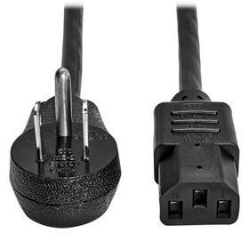 Computer Power Cord, Right Angle NEMA 5-15P to C13 - Heavy Duty, 15A, 125V, 14 AWG, 2 ft., Black