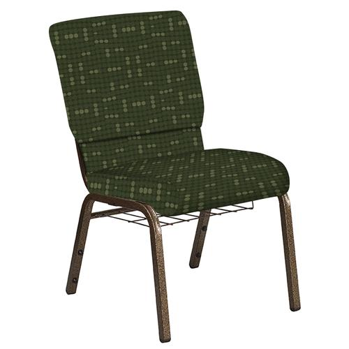 Flash Furniture - 18.5''W Church Chair in Eclipse Fern Fabric with Book Rack - Gold Vein Frame