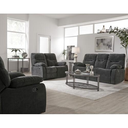 Dinero Charcoal Motion Recliner Loveseat