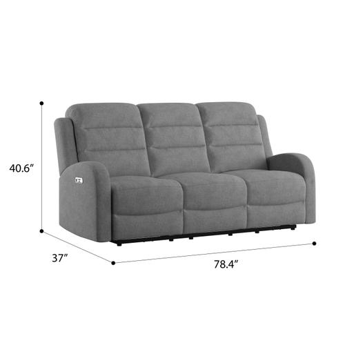 Emerald Home Furnishings - Dual Power Sofa Recliner and Headrest
