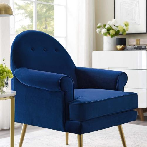 Revive Tufted Button Accent Performance Velvet Armchair in Navy