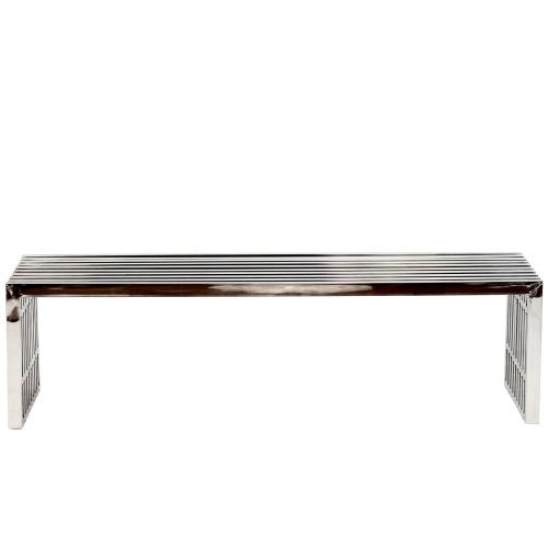 Gridiron Large Stainless Steel Bench in Silver