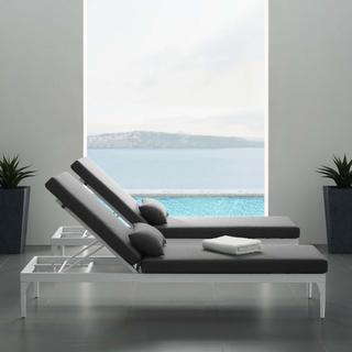 Perspective Cushion Outdoor Patio Chaise Lounge Chair in White Charcoal