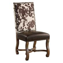 See Details - Mesquite Ranch Leather and Faux Cowhide Side Chair