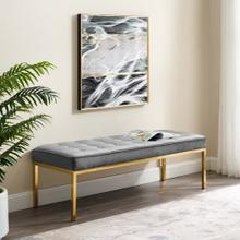 Loft Gold Stainless Steel Leg Large Performance Velvet Bench in Gold Gray