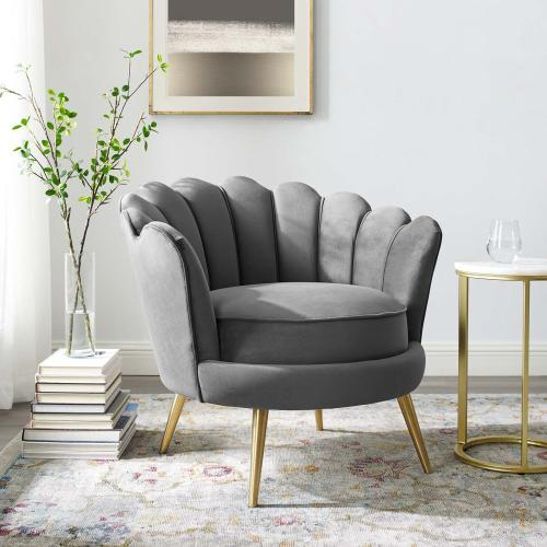 Modway - Admire Scalloped Edge Performance Velvet Accent Armchair in Gray