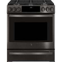 "FLOOR MODEL GE Profile™ 30"" Smart Slide-In Front-Control Gas Range"