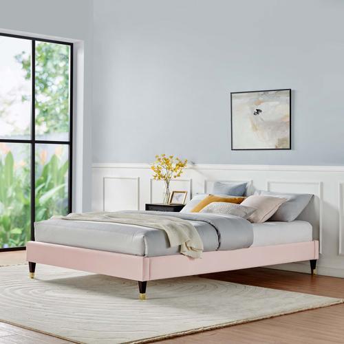 Harlow Queen Performance Velvet Platform Bed Frame in Pink