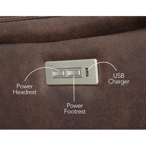 Steve Silver Co. - Valencia Dual-Power Leatherette Reclining Console Loveseat, Walnut