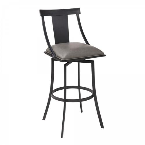 """Armen Living - Brisbane Contemporary 30"""" Bar Height Barstool in Matte Black Finish and Vintage Grey Faux Leather"""