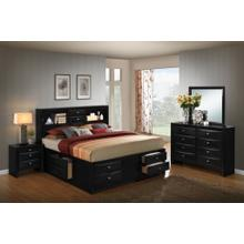 Blemerey 110 Black Wood Storage Bed Group QUEEN & KING Bed Dresser Mirror Night Stand, Queen