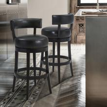 """View Product - Armen Living Corbin 26"""" Counter Height Barstool in Espresso Finish and Onyx Faux Leather"""