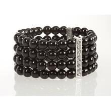 BTQ Black Beaded Bracelet w/ Rhinestones