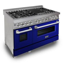 """View Product - ZLINE 48"""" DuraSnow® Stainless Steel 6.0 cu.ft. 7 Gas Burner/Electric Oven Range with Color Door Options (RAS-SN-48) [Color: Blue Gloss]"""