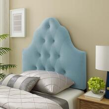 Sovereign Twin Diamond Tufted Performance Velvet Headboard in Light Blue