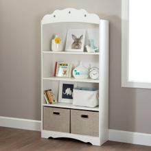 4-Shelf Bookcase - Pure White