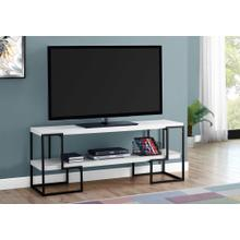 "TV STAND - 60""L / WHITE / BLACK METAL"