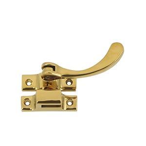 "Deltana - Window Lock, Casement Fastener, Reversible, 4-1/2"" - PVD Polished Brass"