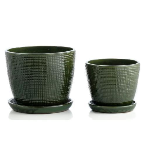Alfresco Home - Gardenwork Mezzo Planter w/ attchd saucer, Set of 2 (Min 4 Sets)