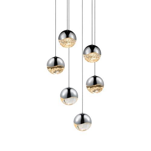 Sonneman - A Way of Light - Grapes® LED Pendant [Size=6-Light Medium, Color/Finish=Polished Chrome, Shape=Round Canopy]