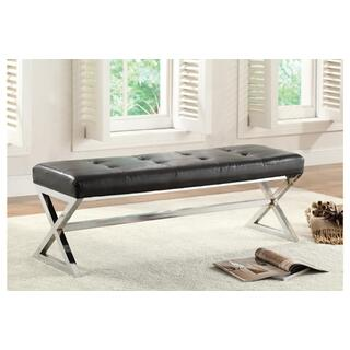 Kona Black Bonded Leather Bench