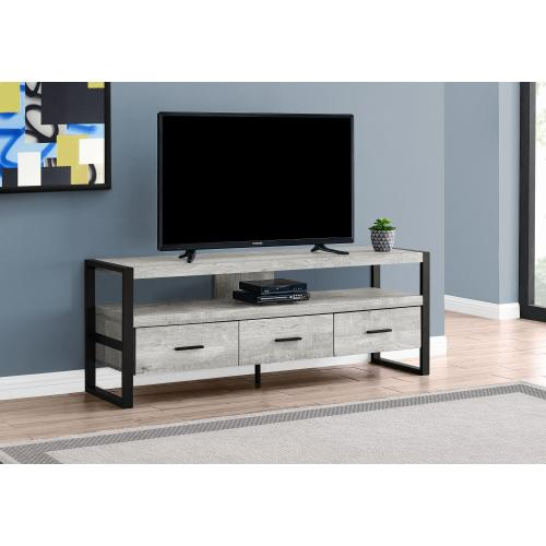 """Gallery - TV STAND - 60""""L / GREY RECLAIMED WOOD-LOOK / 3 DRAWERS"""