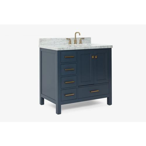 Cavaliere - ARIEL CAMBRIDGE 37 IN. RIGHT OFFSET SINGLE RECTANGLE SINK VANITY SET IN MIDNIGHT BLUE