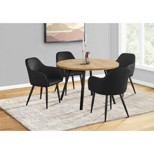 "DINING CHAIR - 2PCS / 33""H / BLACK LEATHER-LOOK / BLACK"