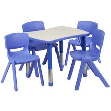 See Details - 21.875''W x 26.625''L Rectangular Blue Plastic Height Adjustable Activity Table Set with 4 Chairs