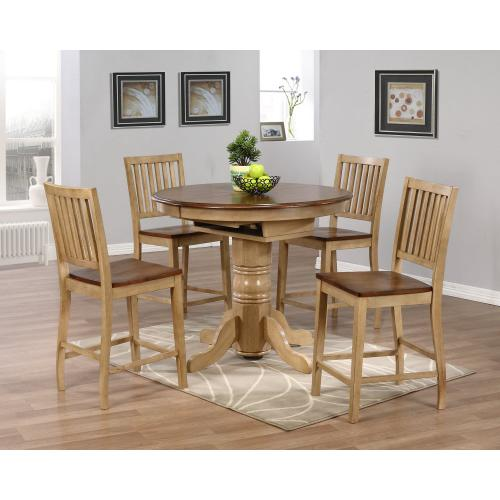 Round or Oval Butterfly Leaf Pub Table Set w/Slat Back Stools (5 piece)